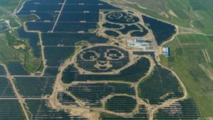 Large panda shaped solar facility in China